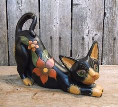 Floral Friends ~ 2055 Collection ~ Black Cat With Gold ~ Stretching