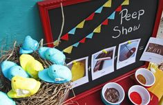 Spring Baby Shower - Kara's Party Ideas - The Place for All Things Party chalkboards, peep show, peep dip, parties, dip peep, buntings, birds, babi shower, baby showers
