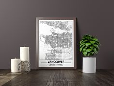 Excited to share the latest addition to my #etsy shop: Vancouver map print, Minimalistic wall art poster, British Columbia gifts, Birthday Gift, For father, Father Black And White Wall Art, Black And White Posters, Artwork Prints, Poster Prints, Bathroom Artwork, Map Wall Art, Map Art, Long Beach Map, Long Beach City