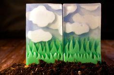 Grass Stain Soap, glycerin soap, handmade bath, shea butter, nature, summer gift, wedding favor, sky, clouds, artistic soap
