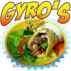"14"" Gyro Concession Trailer Greek Pita Restaurant Cart Fast Food TruckSign Decal"
