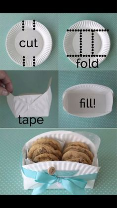 DIY cookie basket made from a paper plate - Clever home-made gift basket for baked goodies! -easy DIY cookie basket made from a paper plate - Clever home-made gift basket for baked goodies! Food Gifts, Craft Gifts, Craft Items, Cookie Baskets, Gift Baskets, Food Baskets, Cheap Baskets, Easter Baskets, Paper Plates