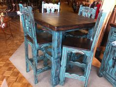 4 Chair And Table Bistro Set. Dark Top And Distressed Turquoise. LOVELY!