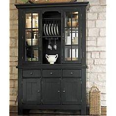 farmhouse hutch in black finish | country hutch, china cabinets