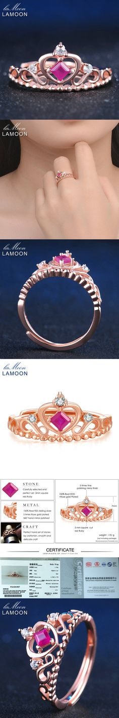 LAMOON 925 Sterling Silver Princess Crown Rings For Women 0.2ct 100% Natural Ruby Jewelry Gemstone Luxury Wedding Ring LMRI013
