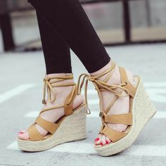 Lace Up Wedge Sandals, Lace Up Wedges, Lace Up Heels, Black Sandals, Wedge Shoes, High Heels, Summer Sandals, High Heel Shoe Chair, Stylish Sandals