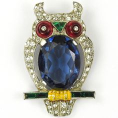 Trifari 'Alfred Philippe' Sapphire Faceted Belly Owl Pin Clip