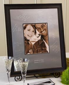 Vintage Signature Frame Guest Book | I Do Engravables.  Our Vintage Signature Frame Guest Book.  The frame finish is aged and distressed dark brown wood that has that vintage and shabby chic feel.   Comes in Two Sizes priced from Have your guests sign the engravable photo mat with our easy-to-use Signature Engraving Scribe. Wedding Guest Book/ Unique Alternatives. Guest Books milestone.http://www.idoengravables.com/wedding_guest_books_c/signature_frame_choices/Signature+Frame+Choices