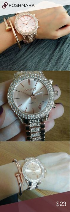 Trendy Watch Rose gold famous design watch ! Full of  diamonds  Band length: max 8.5 inch.  case material: stainless steel. Accessories Watches