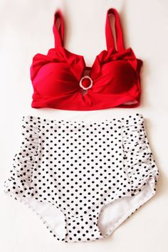 Red Velvet Retro High Waist Swimsuit (Red Top and White/Black Polka Dots Bottom Vintage Swimwear) High waisted Swimsuit Swimsuits S M L via Etsy