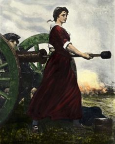 Molly Pitcher, Mary Ludwig Hays McCauley, Born Oct 13, 1754 — Died Jan 22, 1832 - During the Battle of Monmouth on June 28, 1778 the heat of battle was searing, and the soldiers' throats were parched. Many were exhausted and wounded.  All through the day — amidst the smoke and fire of the fighting — a private's young wife, Mrs. John Hays, carried water in a pitcher to her husband and his fellow gunners. Thus, the nickname Molly Pitcher.  When he fell, she fought alongside the men.