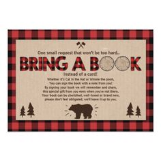 Baby Shower Bring a book Lumberjack Plaid Bear Card - baby gifts child new born gift idea diy cyo special unique design Moose Baby Shower, Baby Shower Host, Baby Shower Gift Basket, Baby Shower Parties, Baby Shower Themes, Baby Shower Decorations, Baby Shower Gifts, Baby Gifts, Shower Ideas