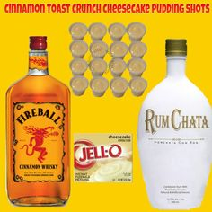 Cinnamon toast crunch pudding shots with RumChata and Fireball whisky. Rumchata And Fireball, Rumchata Pudding Shots, Fireball Jello Shots, Jello Pudding Shots, Fireball Recipes, Fireball Whiskey, Rumchata Recipes Shots, Drinks With Fireball, Jello Shooters