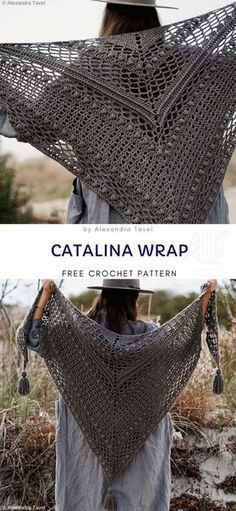 Catalina Wrap Free Crochet Pattern It's a beautiful, a little boho like wrap, that looks very delicate, flowy and lacy. It will make you comfy whenever you wear it. # crochet shawls and wraps patterns Classy Timeless Crochet Wraps Crochet Shawl Free, Crochet Wrap Pattern, Crochet Shawls And Wraps, Crochet Stitches, Knit Crochet, Crochet Scarves, Beach Crochet, Free Crochet Poncho Patterns, Autumn Crochet