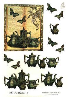 The House of Zandra decoupage - 3D Pages 5 - Tea set, butterflies