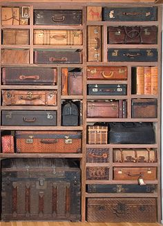 amazing work of art.suitcase wall from the studio of artist Gail Rieke via Cafe Cartolina/Poppytalk What a fun room this would be! Suitcase Storage, Diy Storage, Storage Boxes, Storage Ideas, Suitcase Decor, Storage Shelving, Shelving Ideas, Old Trunks, Trunks And Chests