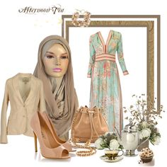 Maxi dress with a jacket, and of course our stylish Kuwaiti hijab.