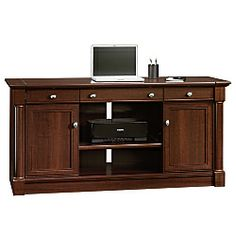 """Sauder® Palladia Collection Credenza With Slide-Out Desktop, 29 3/5""""H x 62""""W x 22""""D, Select Cherry"""