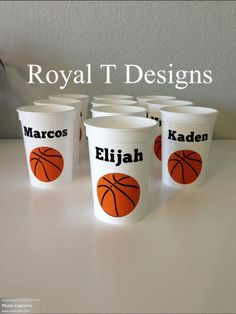 Basketball Favor Ideas | 12oz White Personalized Basketball Party Favor Cups. www.etsy.com/...