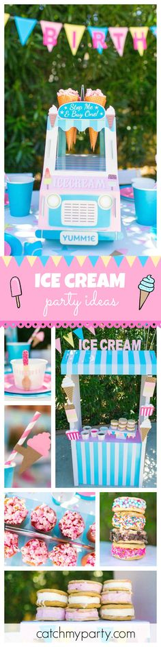 Make the most of the final days of summer and throw an Ice Cream themed Birthday Party! The Ice cream cookie bar is so much fun! The kids then get to personalize theirs with lots of colorful sprinkles! See more party ideas at CatchMyParty.com