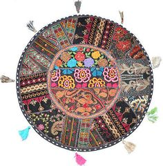"""17"""" #patchwork #round #floor pillow cushion in black meditation #patchwork cushion,  View more on the LINK: http://www.zeppy.io/product/gb/2/322168419144/"""