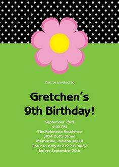 Cute customizable girls birthday party invite