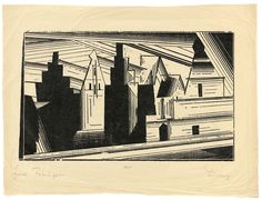 Lyonel Feininger Die Giebel in Lüneburg Dimensions:  9.76 X 16.14 in (24.8 X 41 cm) Medium:  Woodcut on thin China laid paper Creation Date:  1924 Signed
