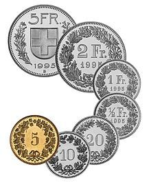 Coins of the Swiss Franc. The CHF 5 coin uses a Swiss Deco font for its text, but the smaller coins all have quite a distinctive (old-feeling and lovely) Didone Modern. Zermatt, Swiss Switzerland, Vevey, Swiss Design, Lucerne, Thinking Day, World Coins, Swiss Alps, Rare Coins
