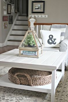 Ikea Hack hemnes coffee table with planked top and Pottery Barn beachcomber round tray- www.goldenboysandme.com