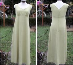 1970s High Waisted Lime Green Maxi Dress by Petticoatjanevintage