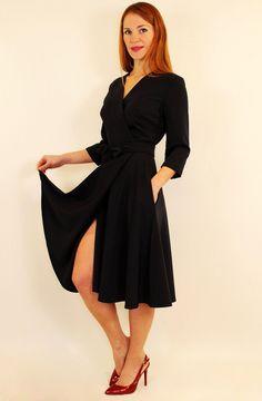 Платье-халат с запахом миди с юбкой клеш 44-52 р красный, темно-синий, электрик, горчичный, зеленый 50-52, Электрик