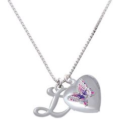 You are more Loved Pink Butterfly Heart Locket Necklace (180 MYR) ❤ liked on Polyvore featuring jewelry, heart shaped pendant, initial pendant, heart shaped locket, heart-shaped jewelry and locket jewelry