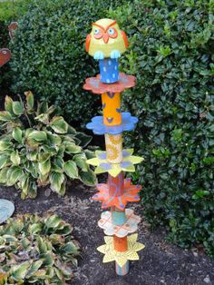 Brighten your garden with this garden totem by HandToMouthPottery, $125.00