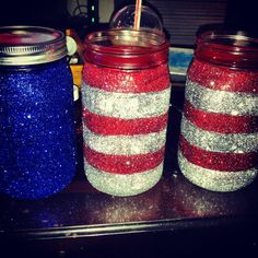 Patriotic Glitter Mason Jars Decor