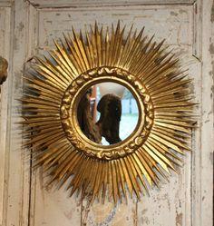 Gold sunburst mirror Antique sunburst mirror Vintage sunburst mirror Gold sun mirror Giltwood wall mirror Starburst mirror French vintage
