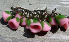 Pink Bellflower Stitch Markers Hand Made in USA   Wyverndesigns - Knitting on ArtFire