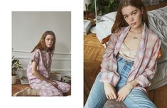 Kate Bowman in our Aalto Necklace for Stevie Howell Somerset Collection, Cotton Pyjamas, Pj Sets, Long Pants, Pajama Set, Lounge Wear, Kimono Top, Blush, Feminine