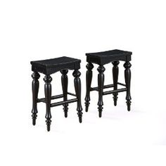Powell Pennfield Distressed-Black Kitchen-Island Stools (set of 2),$179.00