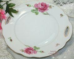 #Pink #Rose #Cake Plate Dish Platter, Oscar #Schaller Zeh #Scherzer #Bavaria #Germany Spring Flower #Vintage #Antique German #Designer Porcelain China