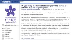 Facebook post for the Health and Home Care Society of BC