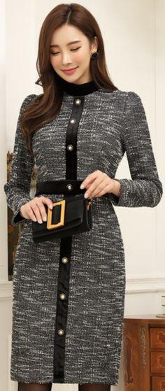 StyleOnme_Antique Style Button Velvet Tweed Slim Fit Dress #gray #elegant #dress #koreanfashion #kstyle #kfashion #wintertrend #seoul
