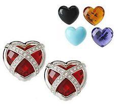 Joan Rivers Changeable Heart Caged Earrings