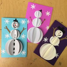 Snowman Pop Out Cards – Art Projects for Kids - christmas dekoration Pop Up Christmas Cards, Christmas Card Crafts, 3d Christmas, Homemade Christmas Cards, Christmas Projects, Holiday Crafts, Handmade Christmas, Winter Art Projects, Projects For Kids