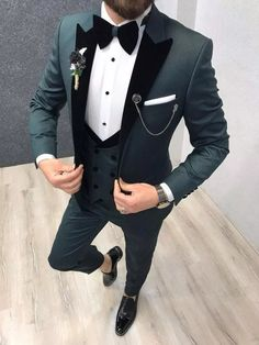 Wedding Suits Royal Green Tuxedo Suit – brabion - Product :vest Grooms Color code :green Size Suit material: p viscose 0 poly Machine washable : No Fitting :Slim-fit Remarks: Dry Cleaner Season : 2019 Spring Wedding Season Slim Fit Tuxedo, Tuxedo Suit, Tuxedo For Men, Prom Tuxedo, Black Tuxedo Wedding, Tuxedo Dress, Indian Men Fashion, Mens Fashion Suits, Mens Suits