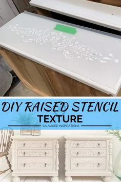 DIY Raised Stencil Texture Denise ~ Salvaged Inspirations Denise ~ Salvaged Inspirations If you've never tried a raised stencil before, I have 12 easy tips in hopes it will encourage you to give it a go! I really hope you… Continue Reading → Diy Furniture Videos, Diy Furniture Decor, Refurbished Furniture, Paint Furniture, Upcycled Furniture, Furniture Projects, Furniture Makeover, Diy Furniture Stencil, Diy Furniture Legs Ideas