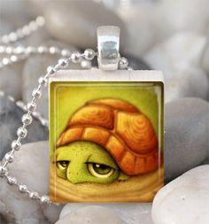 Turtle Necklace Scrabble Tile Pendant by jennspendants on Etsy, $6.00