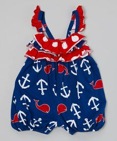 perfect for 4th of july summer Look what I found on #zulily! Blue Whales Tail Ruffle Bubble Bodysuit - Infant #zulilyfinds
