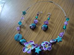 Necklace and earrings Midnight Garden by CreationsBella on Etsy, $34.00