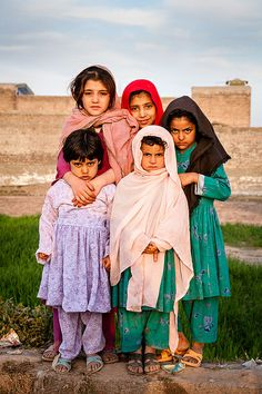 Pukhtun girls in Pabbi Pakistan.  There doesn't appear to be much joy in these children's live, they look so disenchanted, and I suppose, who could blame them .