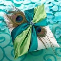 Peacock Flair Wedding Ring Pillow